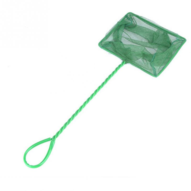 New 5 Sizes Green Portable Long Handle Square Aquarium Fish Tank Landing Net Fishing Net Fish Floating Objects Cleaning Tools