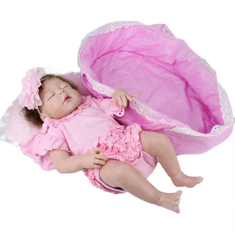 22 55cm Reborn Doll Realistic Full Silicone Vinyl Infant Toddler Dolls Lifelike Sleep Girl Doll Princess Toy for Children Gifts