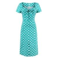 Sisjuly Bodycon Dress Women Vintage Polka Dots Dresses Bowknot Straight Office Short Sleeve Green Retro Bodycon