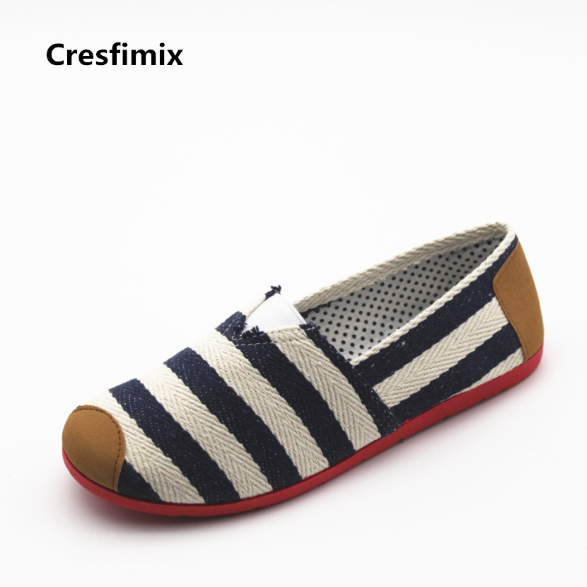 Cresfimix sapatos women fashion blue striped cloth loafers lady casual slip on flat shoes lady soft spring comfortable shoes cresfimix zapatos de mujer women fashion pu leather slip on flat shoes female soft and comfortable black loafers lady shoes