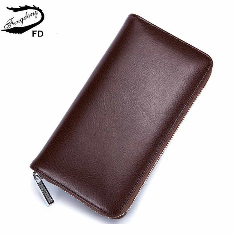 Fengdong, защита от rfid карт, кожаный держатель для карт, Женский Длинный кошелек, женская сумка для телефона, кожаный кошелек для девочек, мужской клатч, кошелек