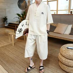 Новые летние Пижамные комплекты в сдержанном стиле с короткими рукавами из хлопка и льна пижамы Для мужчин; одежда для сна комплекты белья