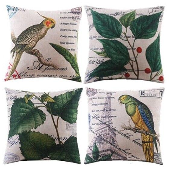 decoratieve kussenhoes / 4 stks / nieuwe / planten / blad / vogel / - Thuis textiel