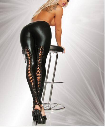 1pcs/lot free shipping european style woman sexy faux leather legging lace up clubwear legging mid waist free size