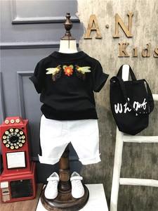 Image 2 - 2ชิ้นเด็กชายฤดูร้อนเสื้อผ้าชุดเด็กสีดำเสื้อเชิ้ตและสีขาวสั้นชุดเด็กแฟชั่นเปิดลงปกแขนสั้นท็อปส์2 7ครั้ง