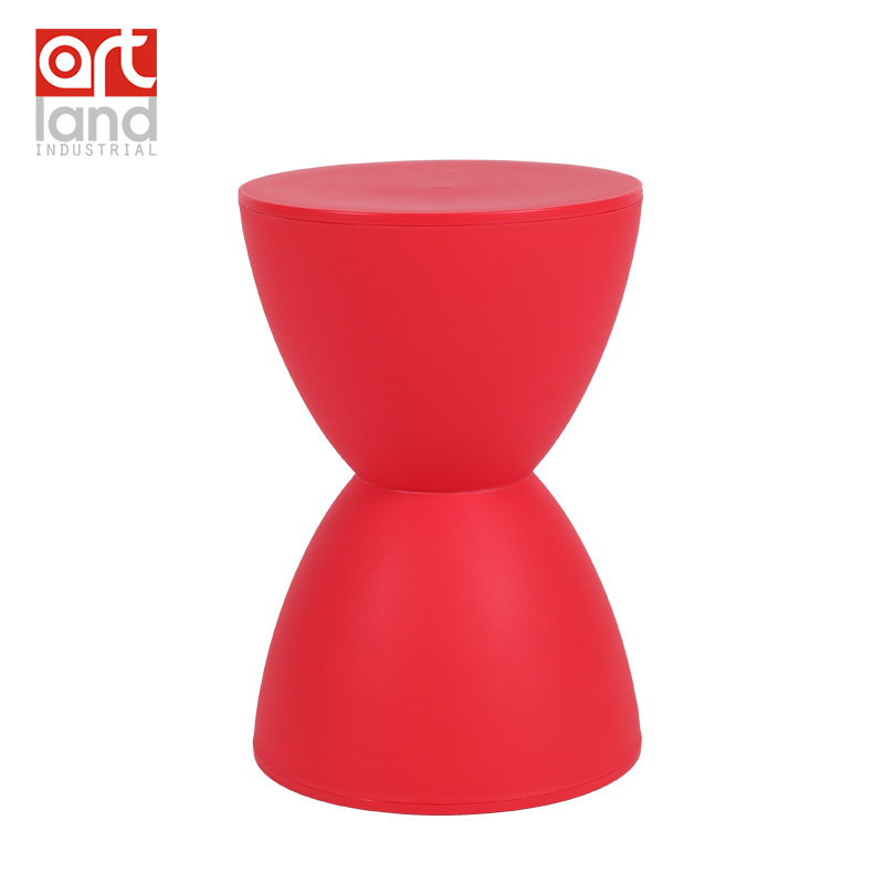 Drum Stool Molded Plastic Low Stool For Bedside Stacking