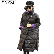 YNZZU 2019 Winter Turtleneck Oversize Women Down coat Long sleeve Loose Warm Female Coat 90% White duck down Long Outwear YO891 цены онлайн