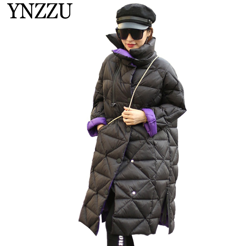 YNZZU 2019 Winter Turtleneck Oversize Women   Down     coat   Long sleeve Loose Warm Female   Coat   90% White duck   down   Long Outwear YO891