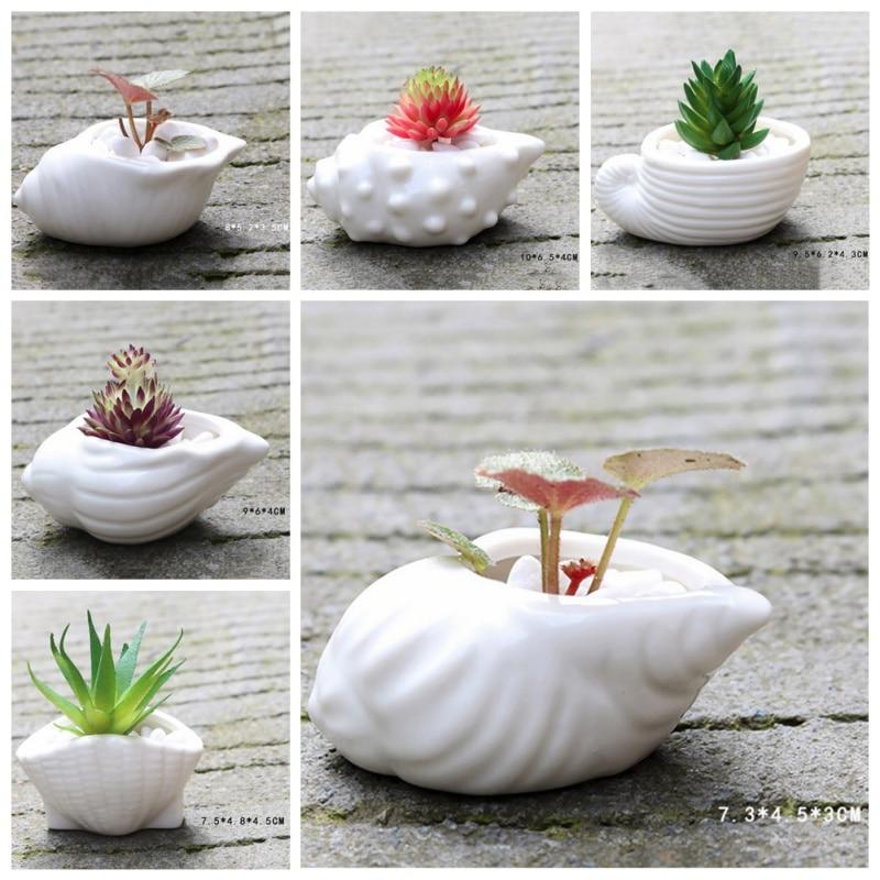 6 PCS Mini Succulent Ceramic Flower Pots Thumb Basin White Korean Simple Style Home Decorations bonsai