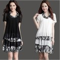 Summer 2016 Korean Chiffon Dress New Fashion Loose Plus Size Fat MM Special Offer Floral Dresses Ladies Casual Clothes New