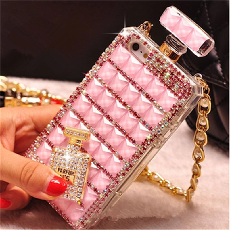 For iphone 5s 6Plus Covers For iPhone Case 6s cases Handmade Luxury Perfume Bottle Bling Case Diamond Crystal Cover Chain