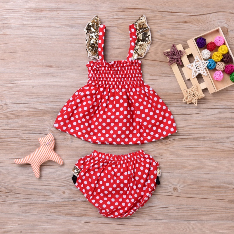 Newborn Summer Baby Girls Cute Infant Bebes Red Polka Dot Mini Dress + PP Short Bloomers Bottoms 2pcs Outfit Clothing Set J2 4pcs set newborn baby clothes infant bebes short sleeve mini mama bodysuit romper headband gold heart striped leg warmer outfit