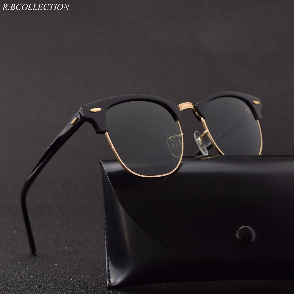 Glass Lens Acetate Half Frame Man Sunglasses Retro Brand Design Elegant Eyewear Square Rays Driving Eyewear