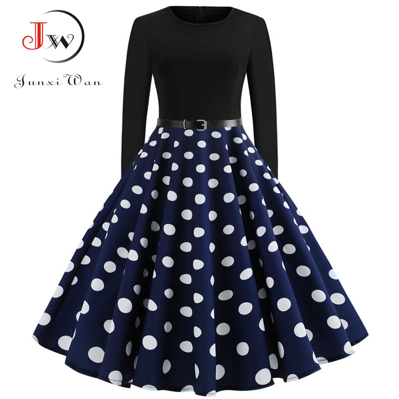 Black Winter Dress Women Polka Dot Patchwork Elegant Vintage Dress Long Sleeve Big Swing Plus Size Party Dresses Casual Chrismas