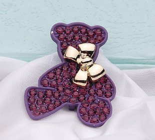 2011 New Brand lovely little bear crystal brooch,fashion brooch,fashion jewelry brooch Free shipping Purple color