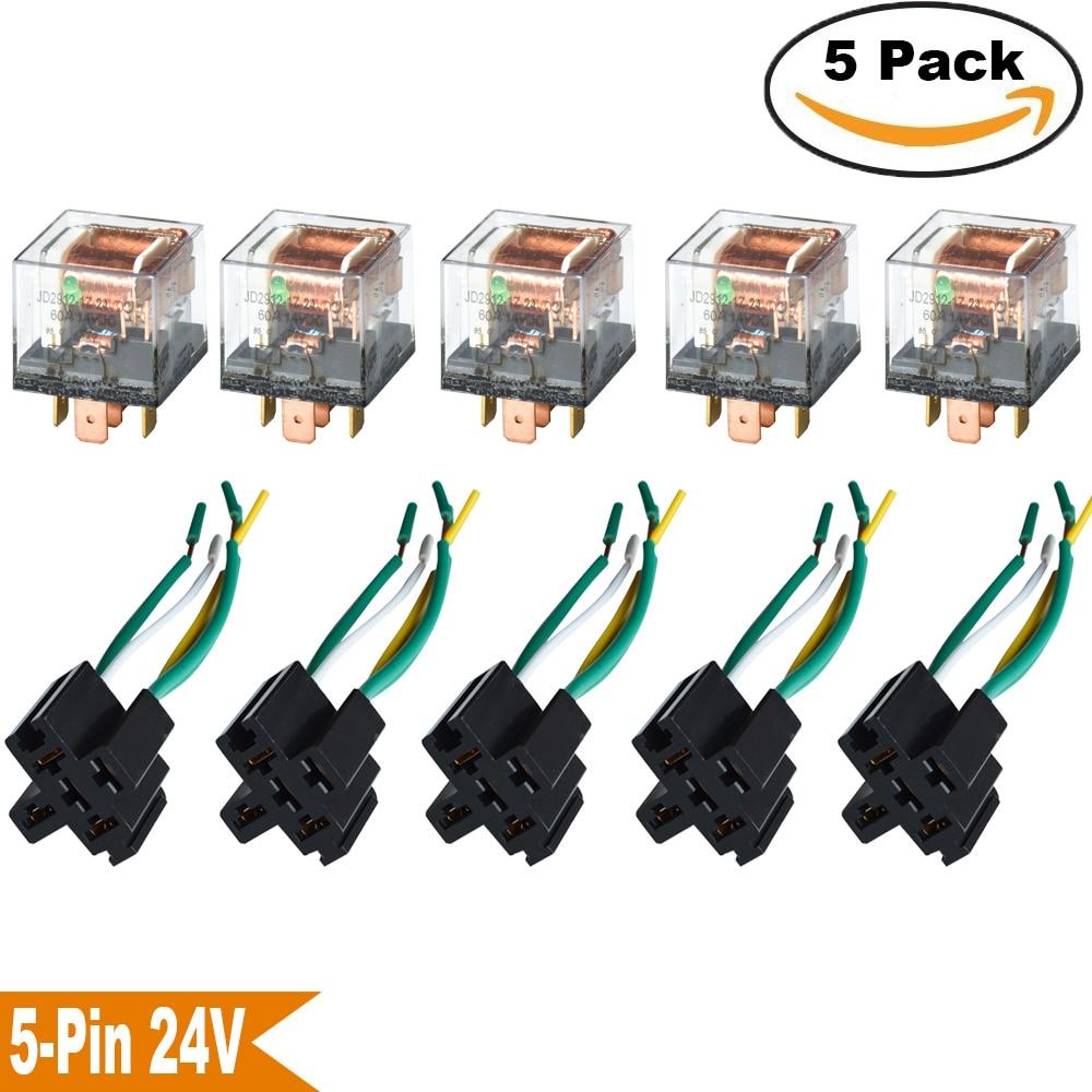 KH 5 / Set 자동차 릴레이 소켓 12V / 24V 60A 앰프 5 핀 SPDT - 자동차 전자
