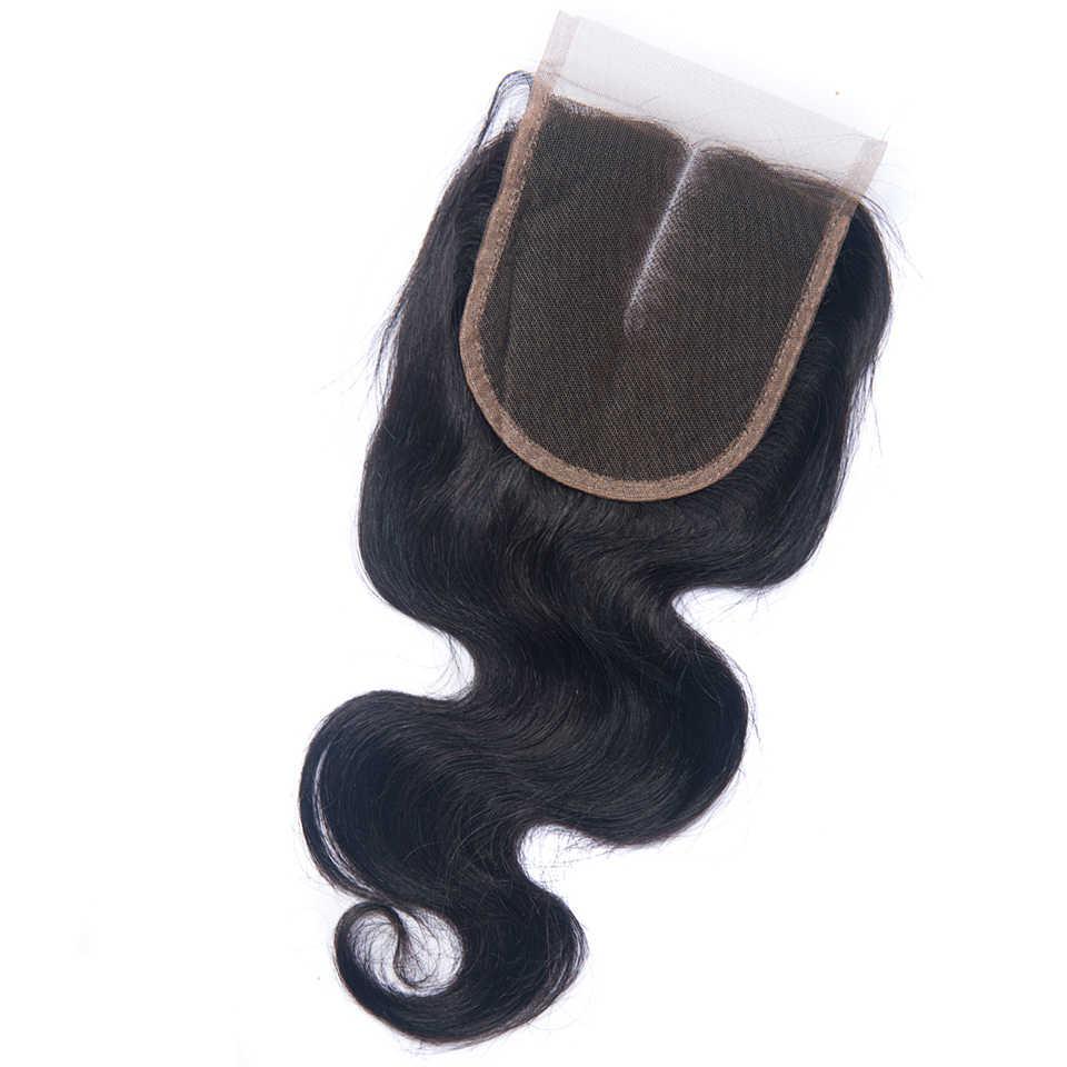 Перуанские волосы объемная волна 4*4 Кружева Закрытие 100% человеческих волос натуральный цвет не Реми Волосы Бесплатная/Средняя/три части закрытия