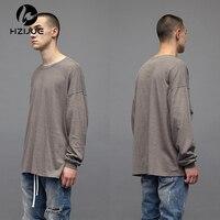 2017 Men Spring Comfortable Extended Pure Color T Shirt Punk Cotton Long Sleeve Top Hip Hop