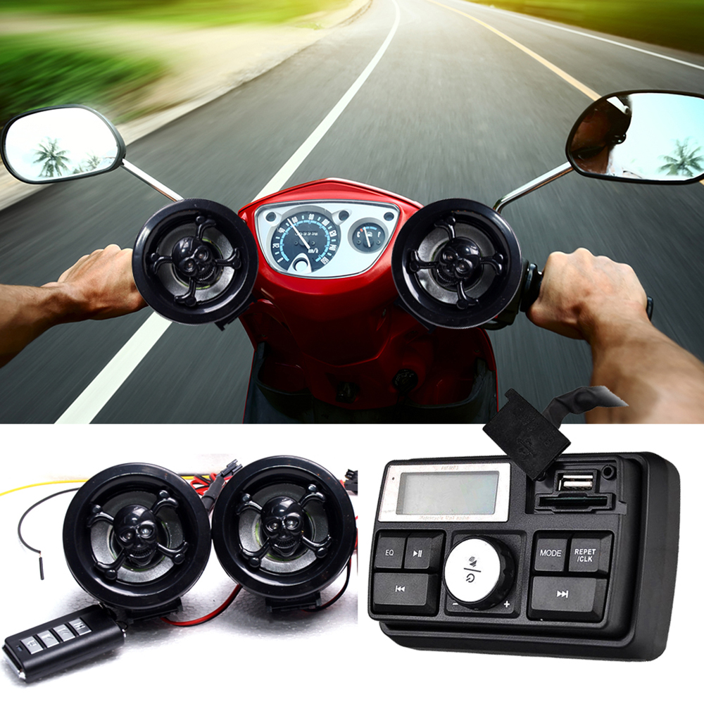 Motorcycle Handlebar Car Audio FM TF MP3 USB/SD Handle Bar Stereo 2 Speakers Amplifier Sound System Alarm Motorbike Anti-Theft motorcycle handlebar car audio fm tf mp3 usb sd handle bar stereo 2 speakers amplifier sound system alarm motorbike anti theft