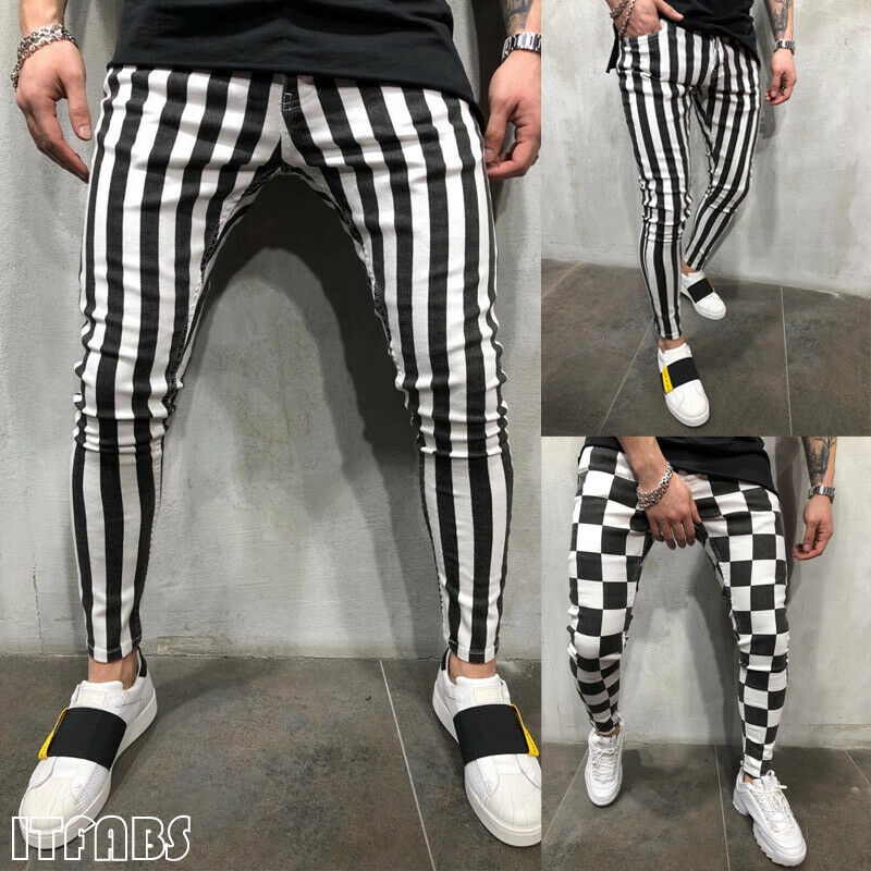 AU STOCK Men's Summer Fashion Slim Striped Plaid Black White Casual Pants
