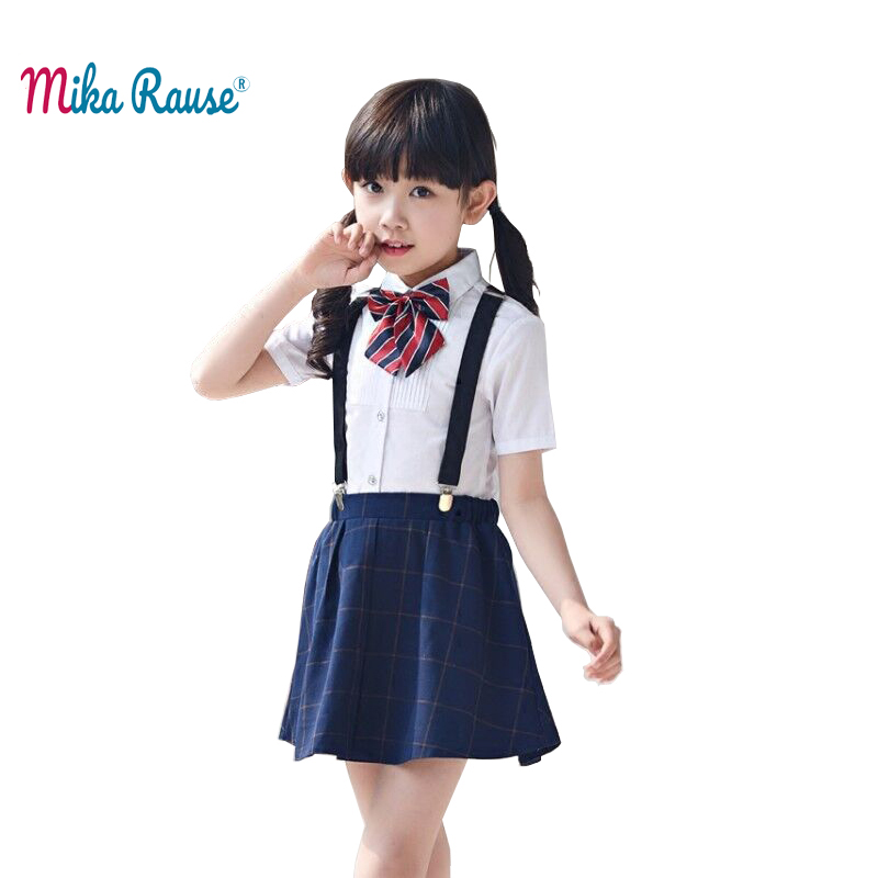 Fashion Kids Girls Clothes Sets Plaid Skirt White Shirt Blouse Suits Set School Ceremony Clothing Student Girl Party Shorts