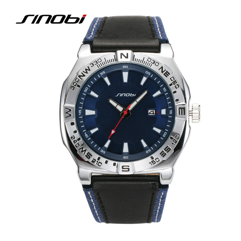 SINOBI Hot Sale Black Sport Watches for Man Military Quartz Watch Elegant Casual Automatic Mechanical Leather Strap Wristwatches 2016 hot sell sinobi brand leather strap watch for mens man fashion style quartz military waterproof wristwatch wholesale