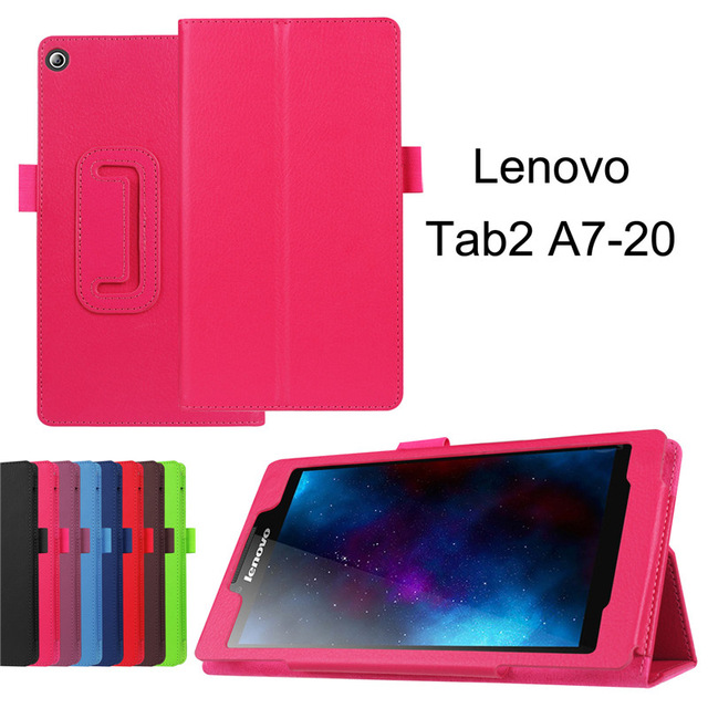For Lenovo Tab 2 Tab2 A7-20 A7-20F A7 20F 7 Tablet Stand Leather Cover Litchi Protective Folio Skin Case for lenovo tab 2 a7 30 2015 tablet pc protective leather stand flip case cover for lenovo a7 30 screen protector stylus pen