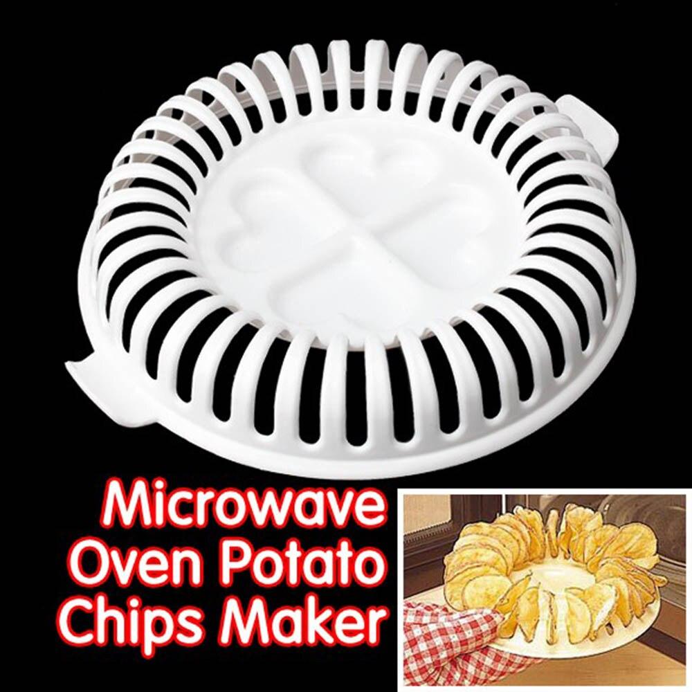 1pc Low Calories DIY Microwave Oven Baked Potato Chips Maker Baking Bakeware Potato Chip Baking Dishes Baking Tools 10100C