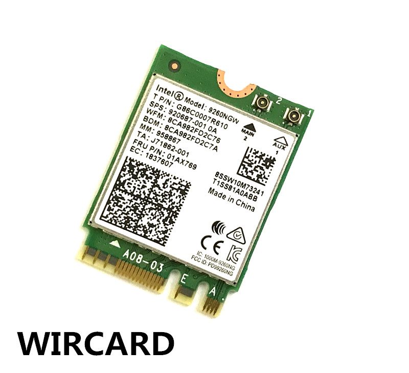 Image 2 - 1730Mbps Wireless 9260NGW Wifi Network Card For Intel 9260 Dual Band NGFF 2x2 802.11ac Wifi Bluetooth 5.0 for Laptop Windows 10-in Network Cards from Computer & Office