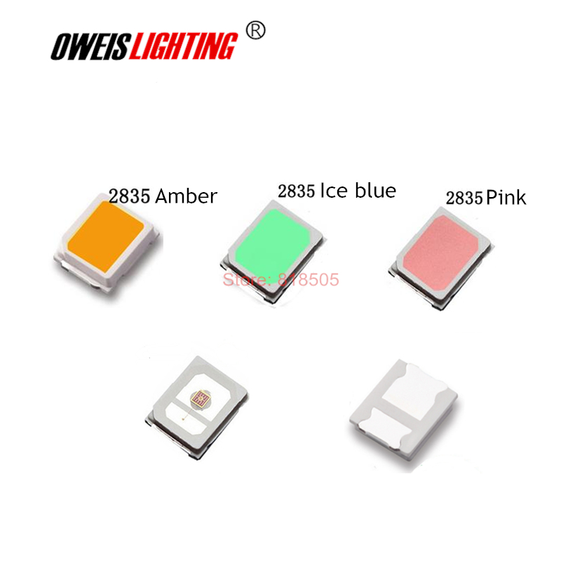 100PCS 2835 0.2W SMD LED  RED  YELLOW (Reverse Polarity) AMBER  BLUE GREEN PINK ICE-BLUE Orange 60mA