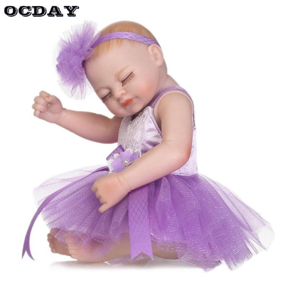 OCDAY 26cm Reborn Baby Doll Toy Full Silicone Simulation Girl Dolls Wearing Dress Sleeping Newborn Doll Toy Gift for Children