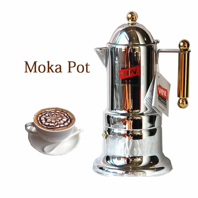 Commercial Italian Moka Pot Household Mocha Coffee Machine Stainless Steel Espresso Maker