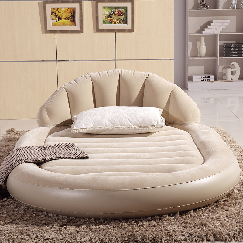 Inflatable air mattress bed PVC air mattresses airbed heightening widening double oval backrest flocking surface Free shipping