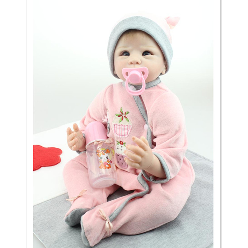 New Style Silicone Reborn Dolls Toys for Children,20 Inch Lifelike Baby Reborn Doll with Clothes and Hat short curl hair lifelike reborn toddler dolls with 20inch baby doll clothes hot welcome lifelike baby dolls for children as gift