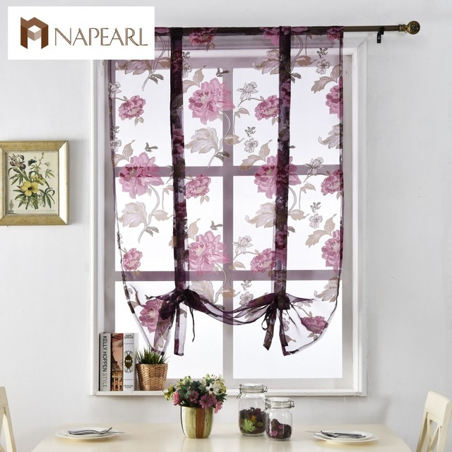 NAPEARL Floral Roman Curtains Short Kitchen Valance Purple Tulle Fabrics Sheer Panel Modern Flower