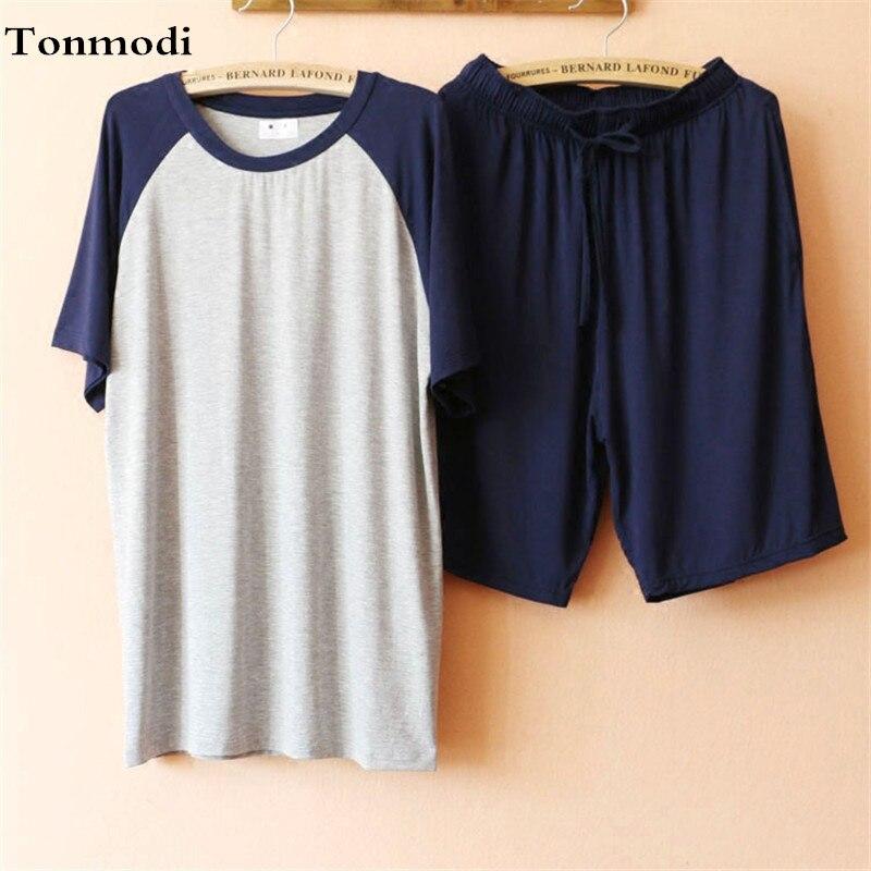 Pajama Set Men Sleepwear Summer Modal Pajamas Short Sleeve Shorts Pyjamas Men Lounge Leisure Clothing