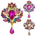 Fashion Women's Multicolor Water Drop Rhinestone Crystal Wedding Bridal Alloy Pin Brooch