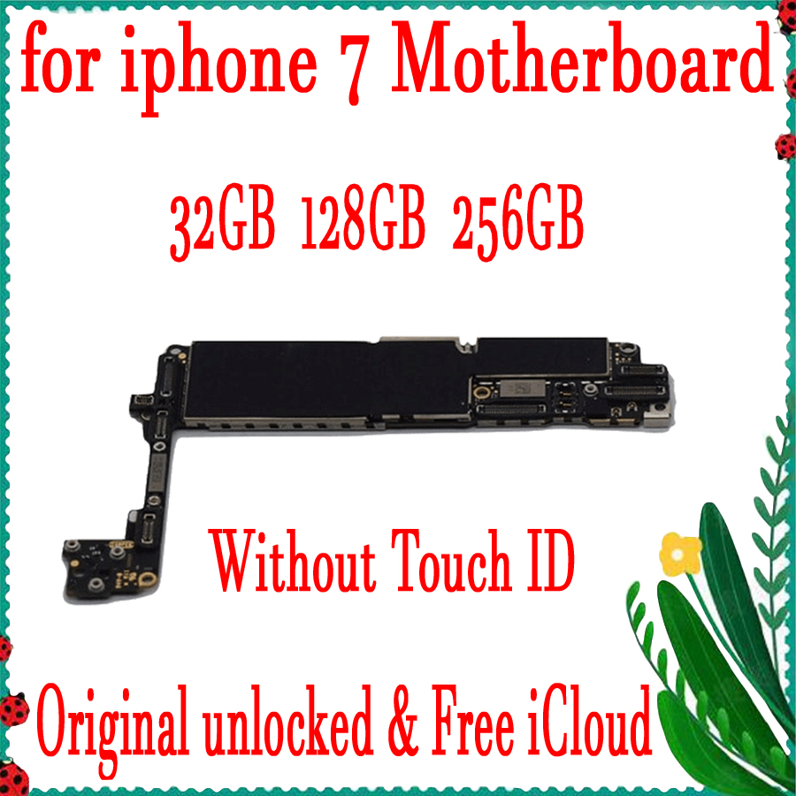 Factory Unlock Original Motherboard For iPhone 7 4.7inch No Touch ID Mainboard IOS Installed
