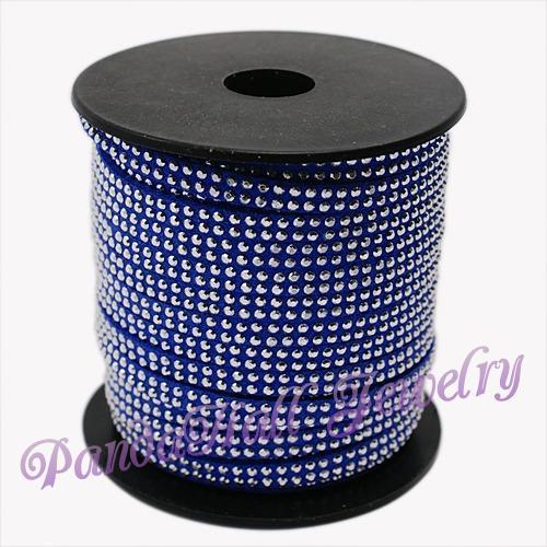 2 Ряд Платинового Алюминиевый Шипованных Корея Искусственные Замши Шнура, синий, 5x2 мм; около 20 метров/рулон