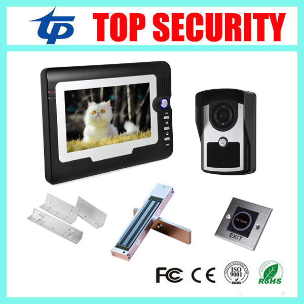 Free shipping video intercom system 7 color video door phone system IP55 door access controller+lock+bracket+exit button