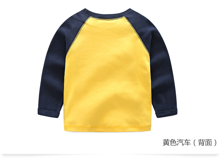 2018 Spring Autumn For 2-9 10 Years Children Cotton Striped Patchwork Cartoon Car Bus Truck Baby Kids Boys Long Sleeve T Shirts (19)