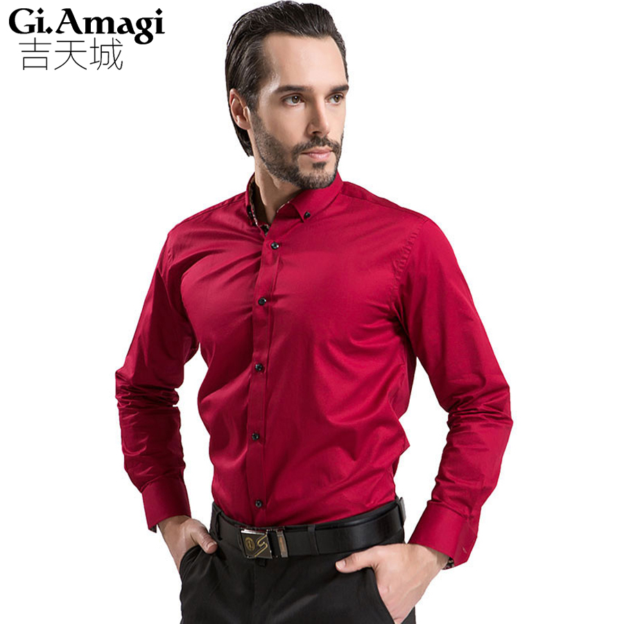 New Spring Autumn Shirts Top Quality Long Sleeve Brand Men Shirt Male Business Casual Dress Work