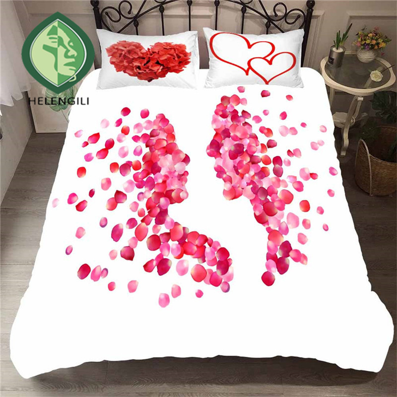 HELENGILI 3D Bedding Set Kiss Lips Mouth Print Duvet Cover Set Lifelike Bedclothes With Pillowcase Bed Set Home Textiles #ZUI-20