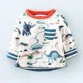 18 М-6 Т лет Мальчики Футболки Дети Тис Baby Boy марка футболки Дети Толстовки С Длинным Рукавом 100% хлопок симпатичные динозавров Толстовка