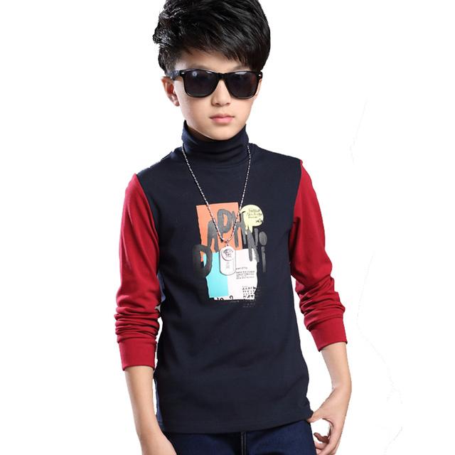 Crianças Meninos Moletons Outono Inverno Moda Casual Meninos de Algodão Quente Grossa camisola de Gola Alta Camisas de Manga Longa Meninos Roupas das Crianças