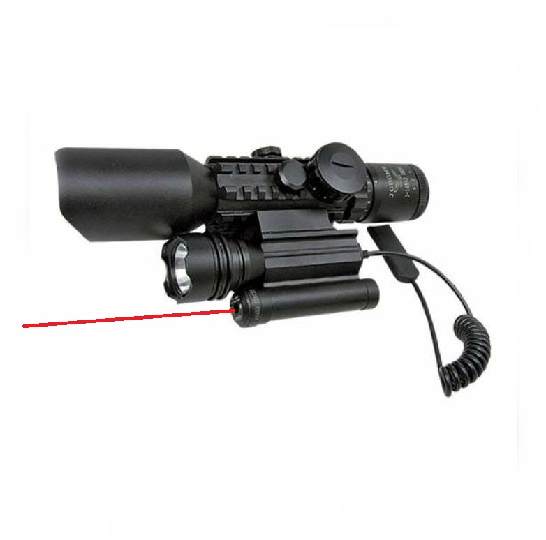 3 in 1 Compact Combo Riflescope M9D Tactical Red Green Illuminated Rifle Gun Scope w/ Side Mounted Laser Sight and Flashlight hot sale 2 5 10x40 riflescope illuminated tactical riflescope with red laser scope hunting scope