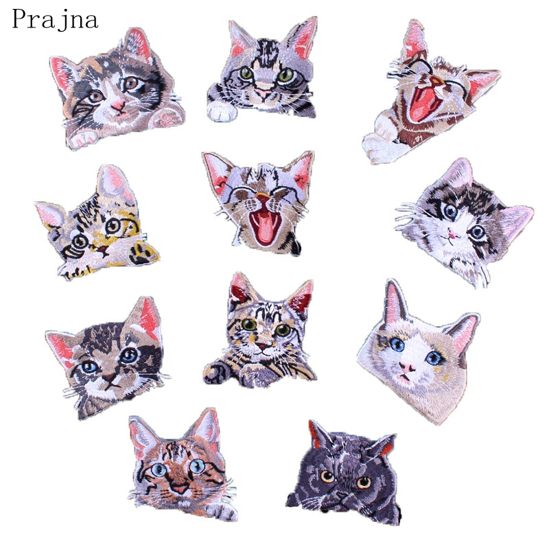 Prajna Anime cheshire Lucky Cat Patch Horse Bird Corgi Dog Patch Fabric Applique Pocket Iron On Embroidery Patches For Clothes