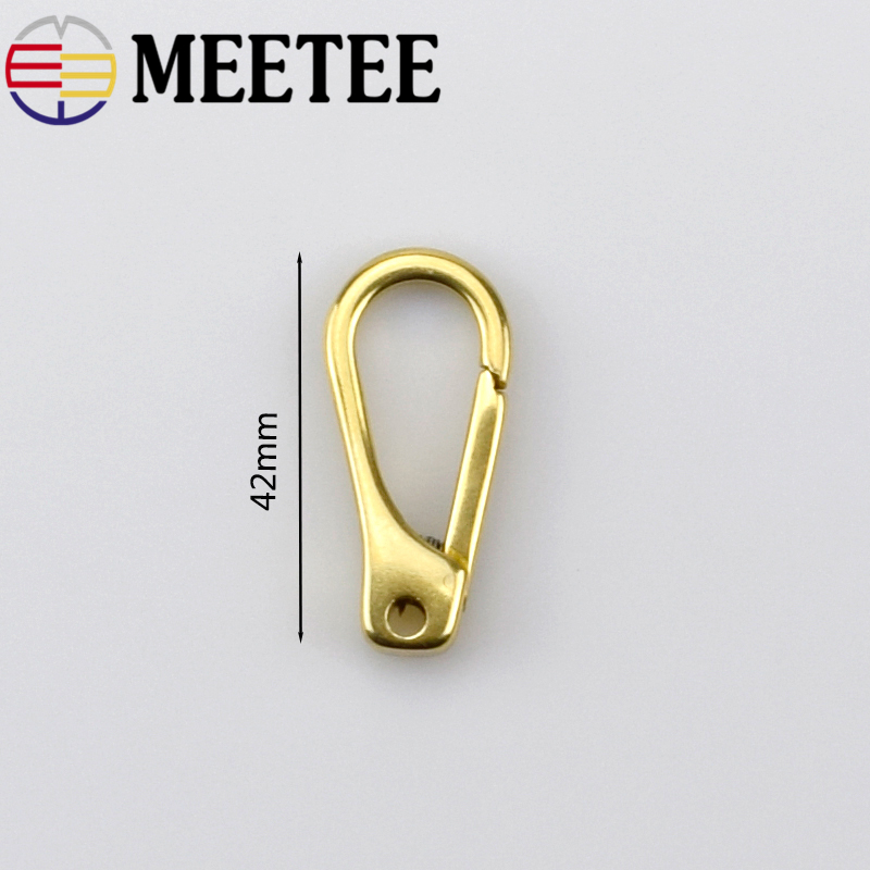 MEETEE 2PCS Solid Brass Metal Buckles Hooks Keychain Snap Clasp Luggage Hardware Handmade Leather Accessories ZK663 in Buckles Hooks from Home Garden