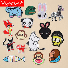 VIPOINT embroidery fox rabbit patches monkey cats badges applique for clothing XW-56