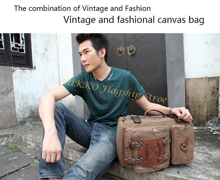 Marke Stilvolle Reise New vintage rucksack canvas backpack leisure travel schoolbag unisex laptop backpacks men backpack male 11